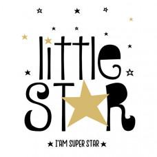"""127070 Термотрансфер """"Little star"""" чёрный"""